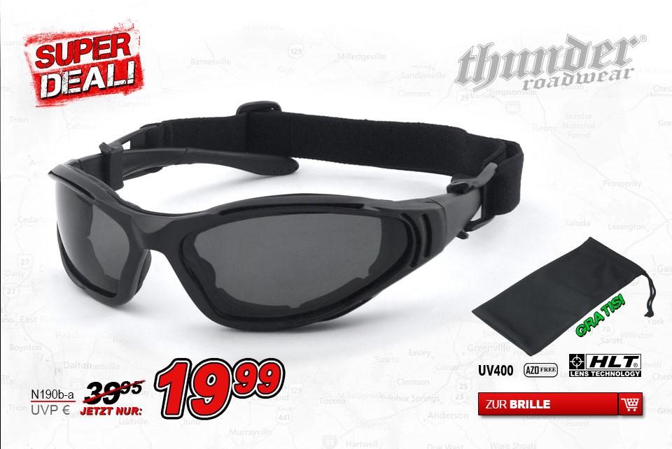 Super Deal Motorradbrille Thunder Roadwear N190b-a