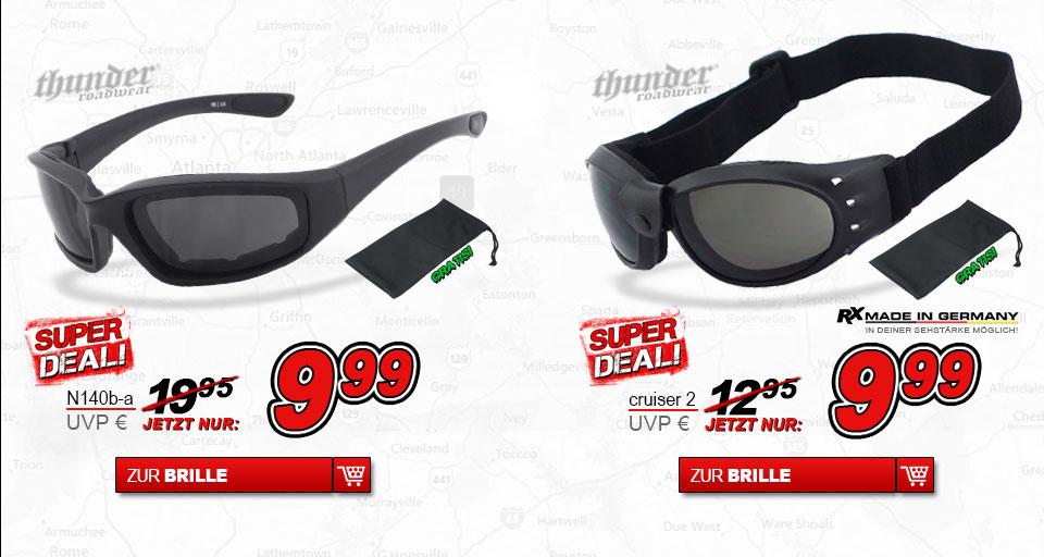Super Deal dark Thunder Roadwear Bikerbrillen