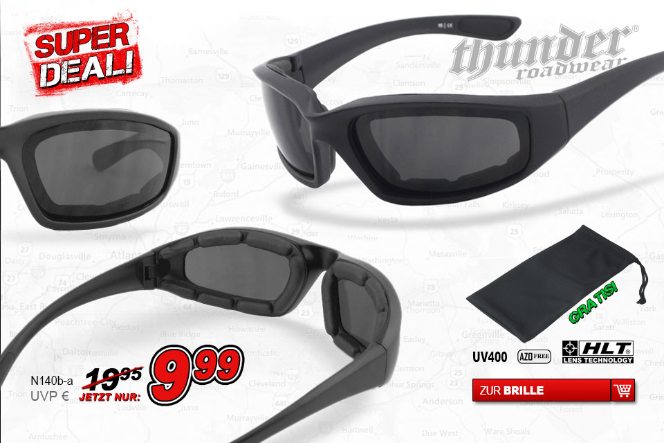 Thunder Roadware Super Deal Bikerbrille N140b-a